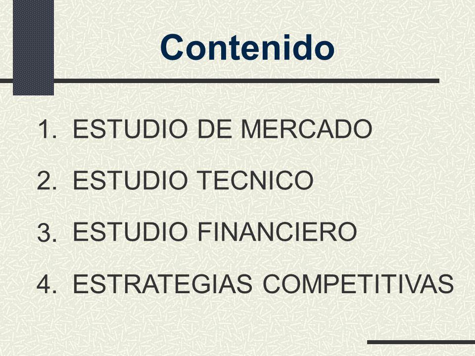 Contenido ESTUDIO DE MERCADO 1. ESTUDIO TECNICO 2. ESTUDIO FINANCIERO