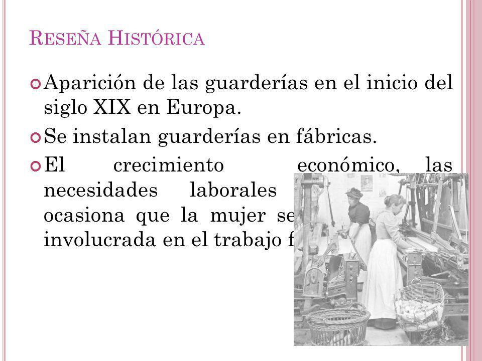 Aparición de las guarderías en el inicio del siglo XIX en Europa.