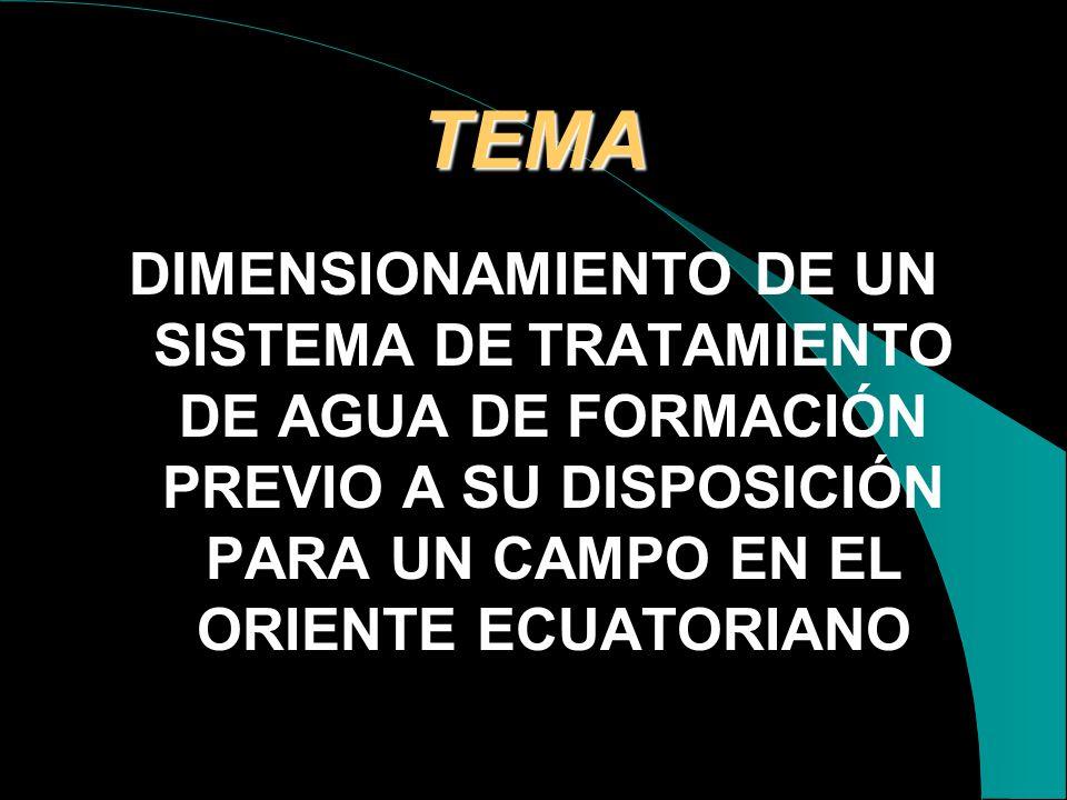 TEMA DIMENSIONAMIENTO DE UN SISTEMA DE TRATAMIENTO DE AGUA DE FORMACIÓN PREVIO A SU DISPOSICIÓN PARA UN CAMPO EN EL ORIENTE ECUATORIANO.