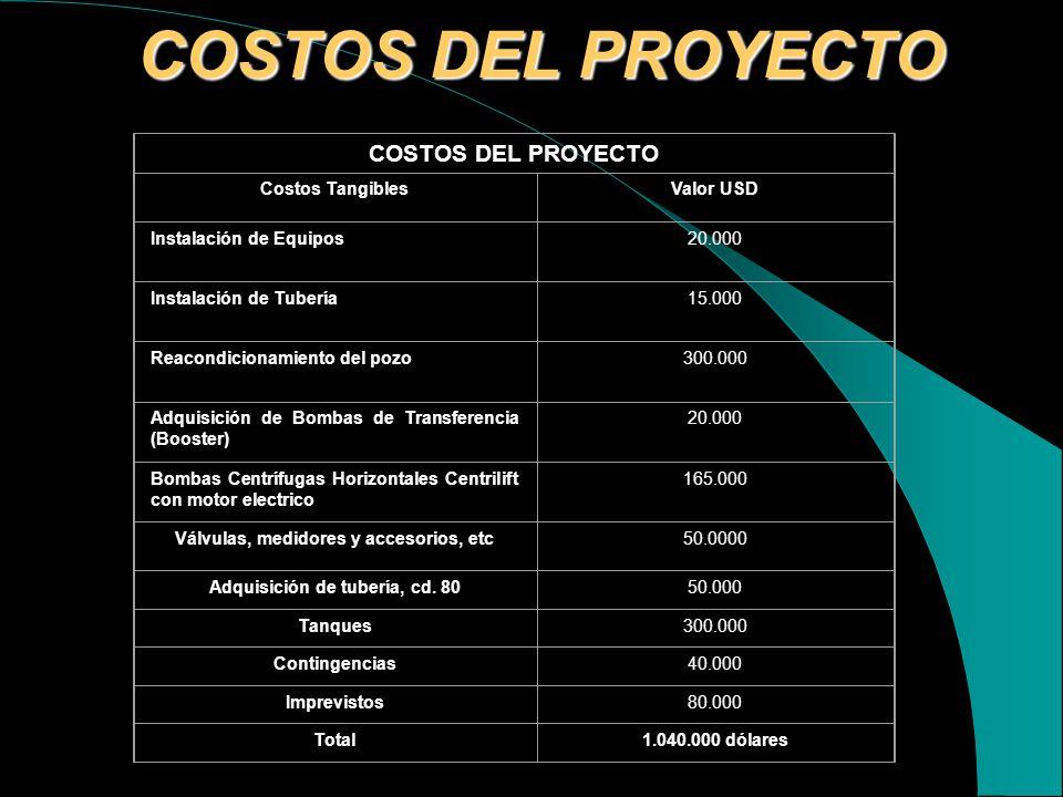 COSTOS DEL PROYECTO COSTOS DEL PROYECTO Costos Tangibles Valor USD