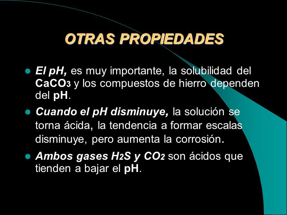 OTRAS PROPIEDADES El pH, es muy importante, la solubilidad del CaCO3 y los compuestos de hierro dependen del pH.