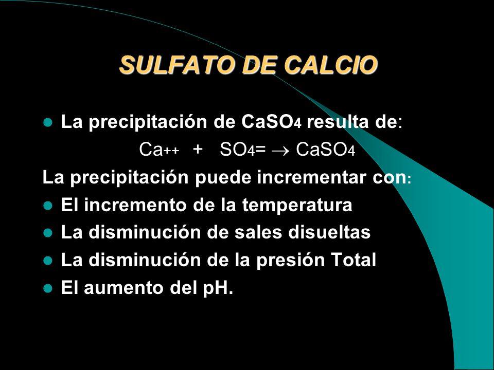 SULFATO DE CALCIO La precipitación de CaSO4 resulta de: