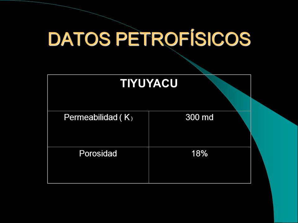 DATOS PETROFÍSICOS TIYUYACU Permeabilidad ( K ) 300 md Porosidad 18%
