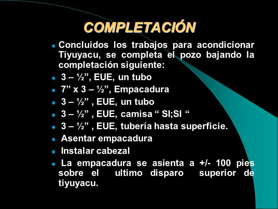 COMPLETACIÓN Concluidos los trabajos para acondicionar Tiyuyacu, se completa el pozo bajando la completación siguiente: