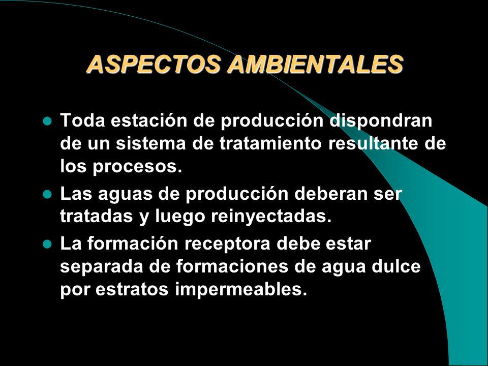 ASPECTOS AMBIENTALES Toda estación de producción dispondran de un sistema de tratamiento resultante de los procesos.