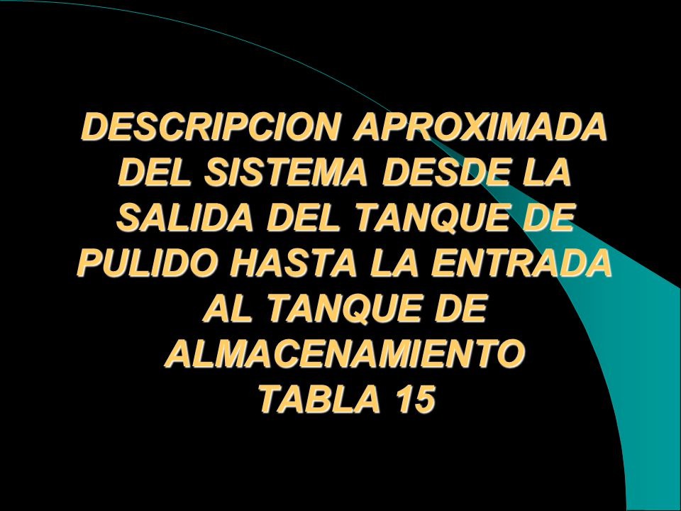 DESCRIPCION APROXIMADA DEL SISTEMA DESDE LA SALIDA DEL TANQUE DE PULIDO HASTA LA ENTRADA AL TANQUE DE ALMACENAMIENTO TABLA 15