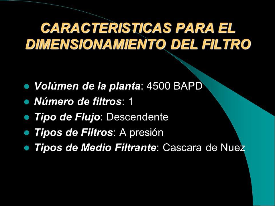CARACTERISTICAS PARA EL DIMENSIONAMIENTO DEL FILTRO