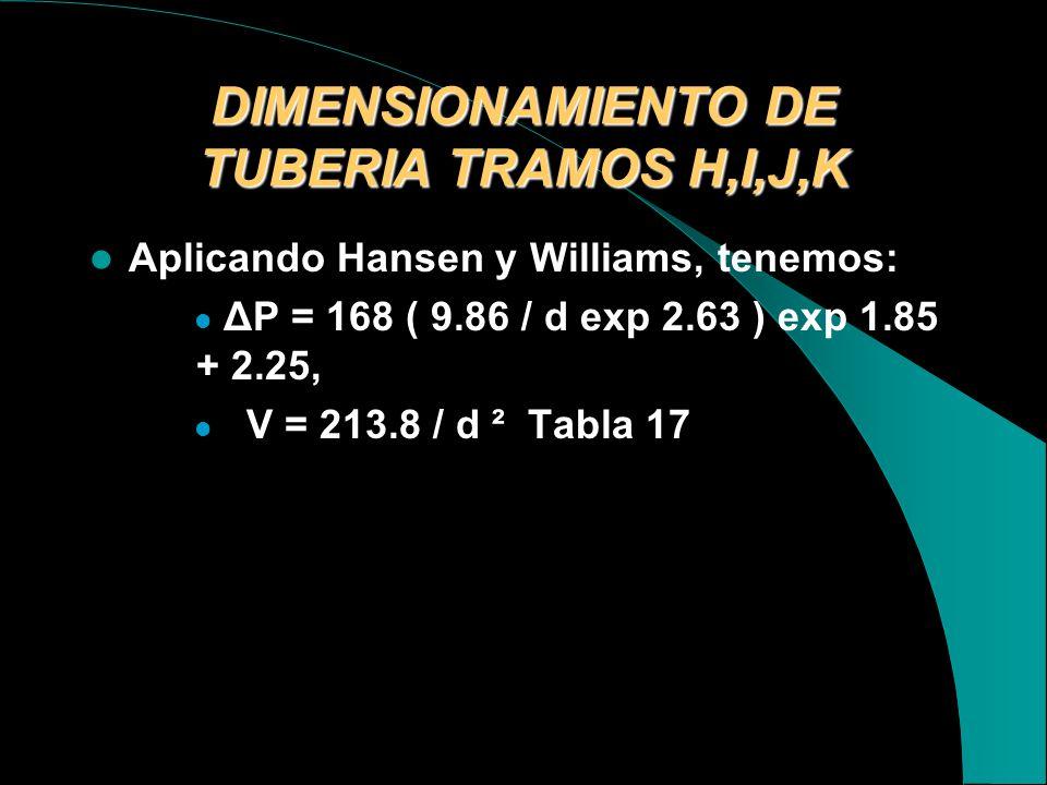 DIMENSIONAMIENTO DE TUBERIA TRAMOS H,I,J,K