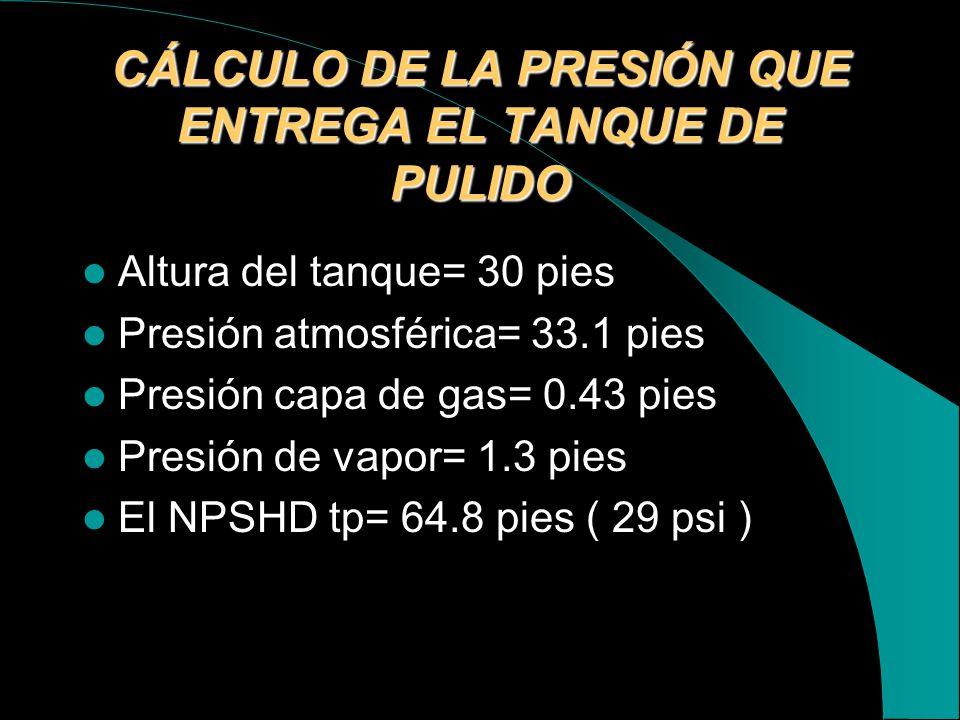 CÁLCULO DE LA PRESIÓN QUE ENTREGA EL TANQUE DE PULIDO
