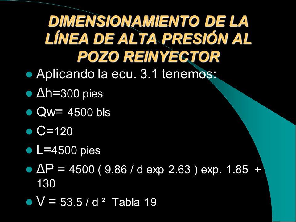 DIMENSIONAMIENTO DE LA LÍNEA DE ALTA PRESIÓN AL POZO REINYECTOR
