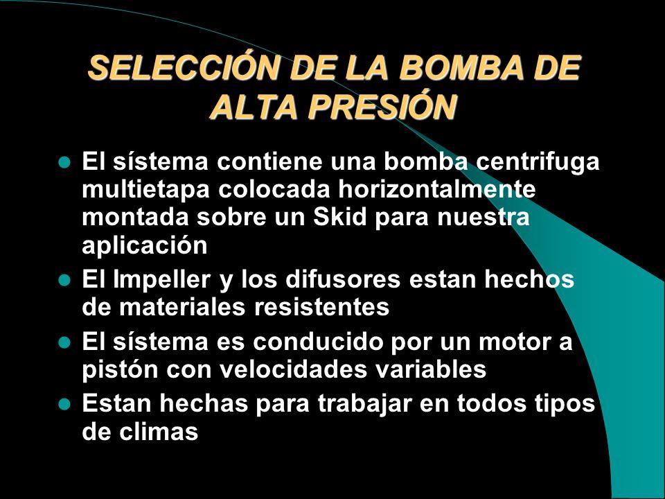 SELECCIÓN DE LA BOMBA DE ALTA PRESIÓN
