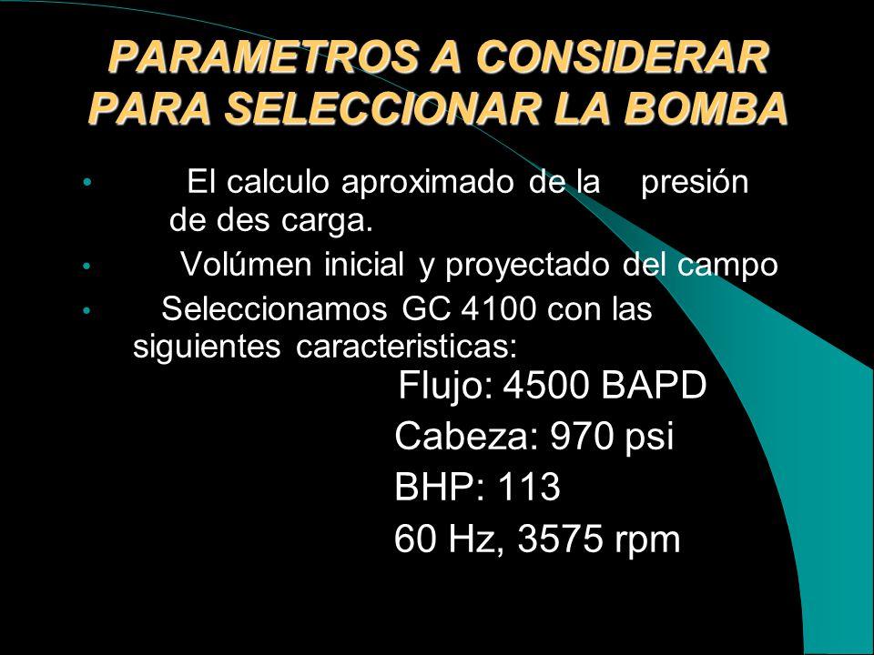 PARAMETROS A CONSIDERAR PARA SELECCIONAR LA BOMBA
