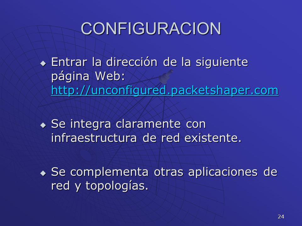 CONFIGURACION Entrar la dirección de la siguiente página Web: http://unconfigured.packetshaper.com.