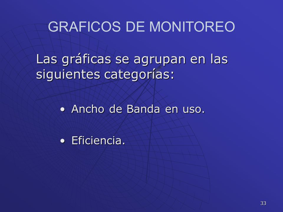 GRAFICOS DE MONITOREO Las gráficas se agrupan en las siguientes categorías: Ancho de Banda en uso.