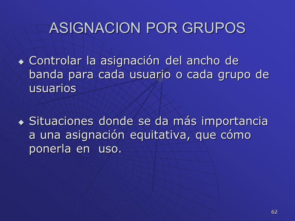 ASIGNACION POR GRUPOS Controlar la asignación del ancho de banda para cada usuario o cada grupo de usuarios.