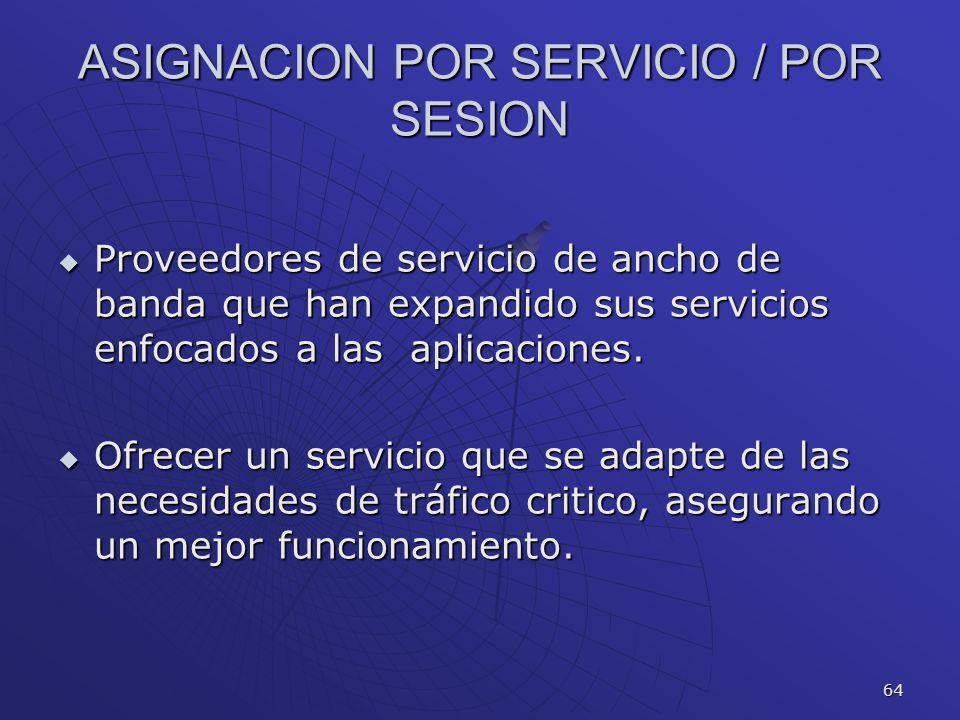 ASIGNACION POR SERVICIO / POR SESION