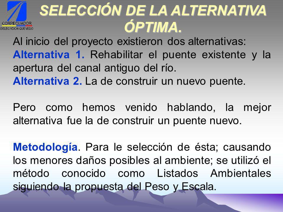 SELECCIÓN DE LA ALTERNATIVA ÓPTIMA.