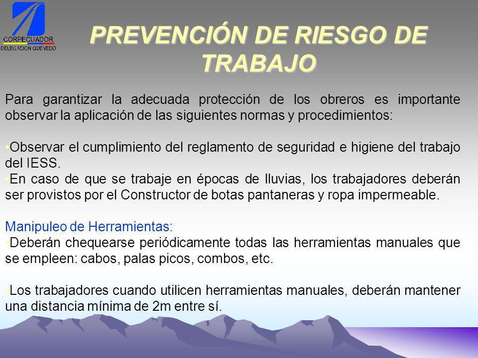 PREVENCIÓN DE RIESGO DE TRABAJO