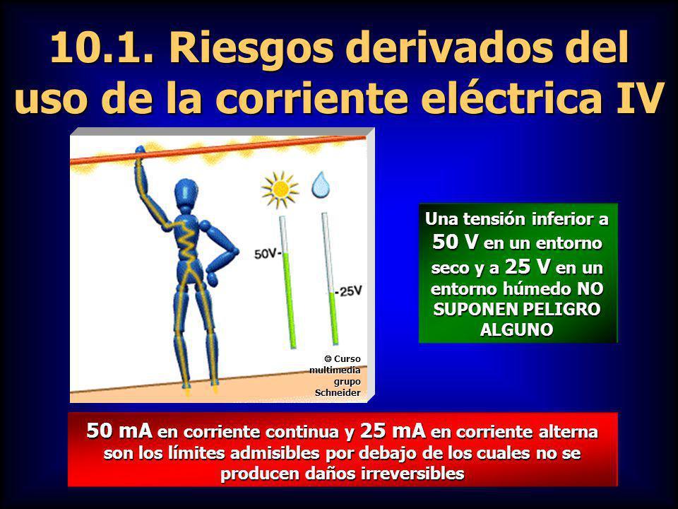 10.1. Riesgos derivados del uso de la corriente eléctrica IV