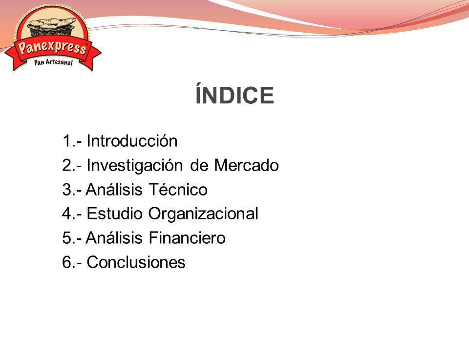 ÍNDICE 1.- Introducción 2.- Investigación de Mercado 3.- Análisis Técnico 4.- Estudio Organizacional 5.- Análisis Financiero 6.- Conclusiones