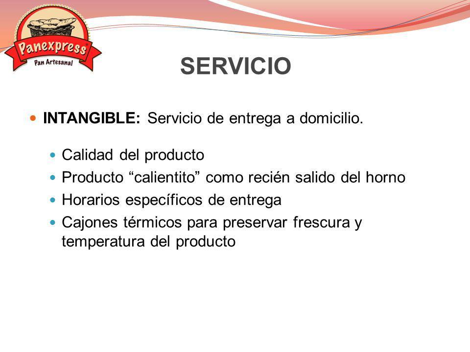 SERVICIO INTANGIBLE: Servicio de entrega a domicilio.