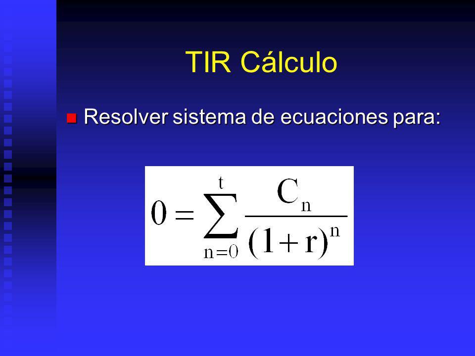 TIR Cálculo Resolver sistema de ecuaciones para: