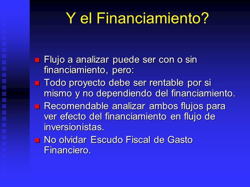 Y el Financiamiento Flujo a analizar puede ser con o sin financiamiento, pero: