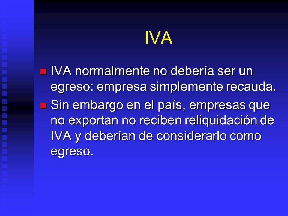 IVA IVA normalmente no debería ser un egreso: empresa simplemente recauda.