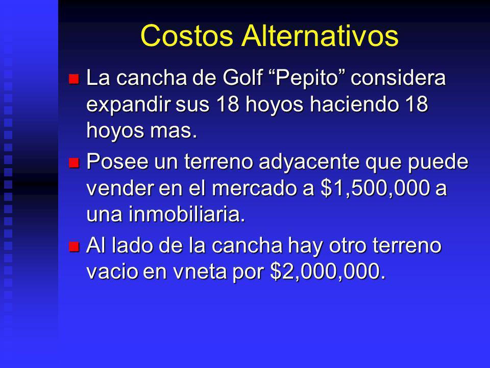 Costos Alternativos La cancha de Golf Pepito considera expandir sus 18 hoyos haciendo 18 hoyos mas.