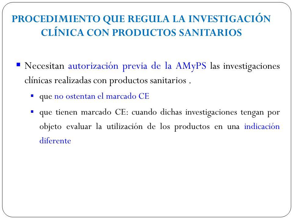 PROCEDIMIENTO QUE REGULA LA INVESTIGACIÓN CLÍNICA CON PRODUCTOS SANITARIOS