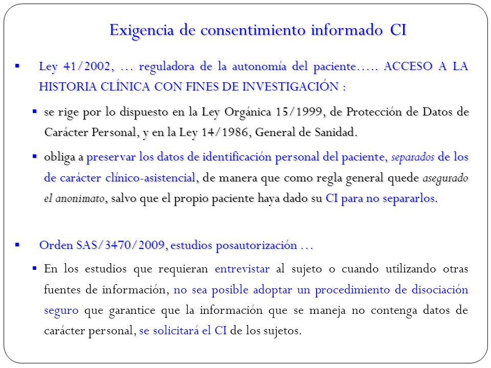 Exigencia de consentimiento informado CI