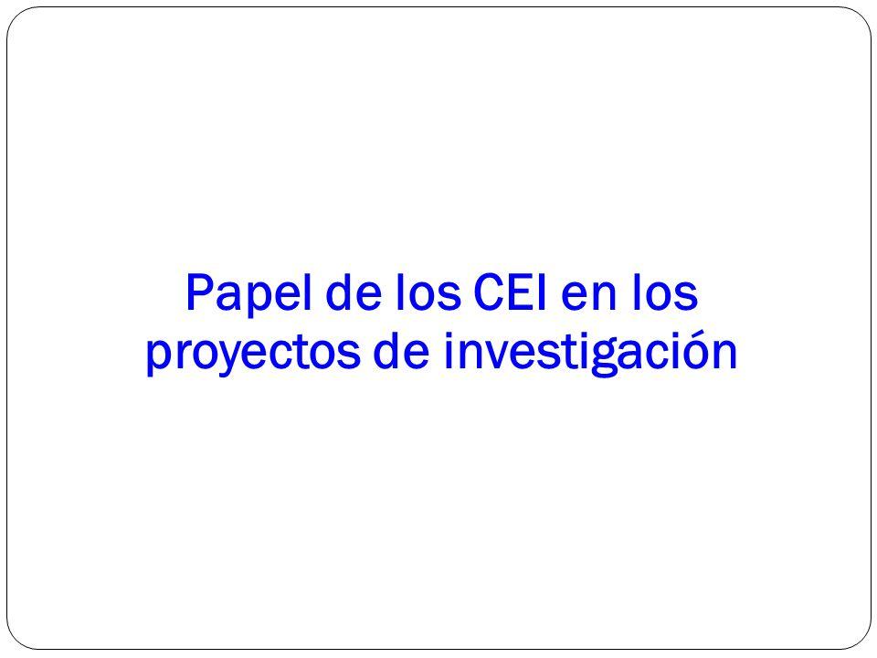 Papel de los CEI en los proyectos de investigación