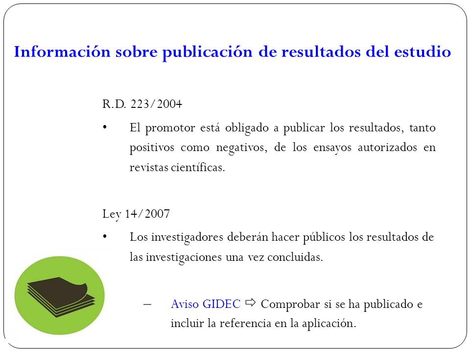 Información sobre publicación de resultados del estudio