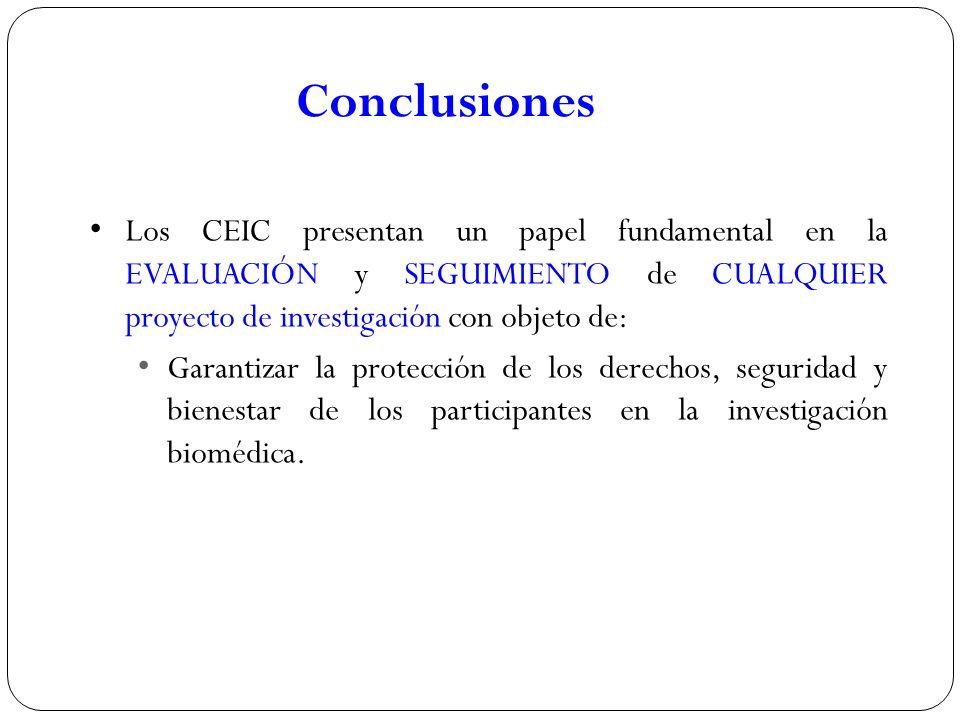 Conclusiones Los CEIC presentan un papel fundamental en la EVALUACIÓN y SEGUIMIENTO de CUALQUIER proyecto de investigación con objeto de: