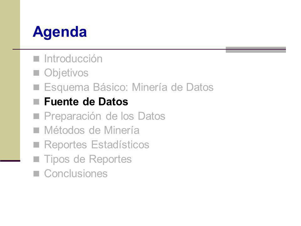 Agenda Introducción Objetivos Esquema Básico: Minería de Datos