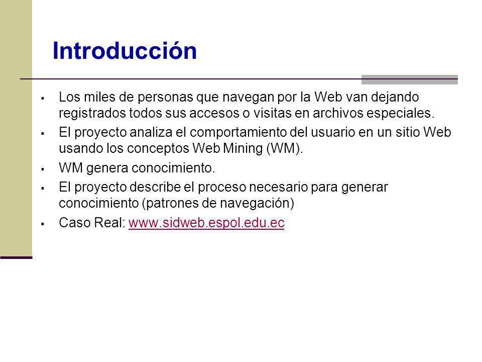 Introducción Los miles de personas que navegan por la Web van dejando registrados todos sus accesos o visitas en archivos especiales.