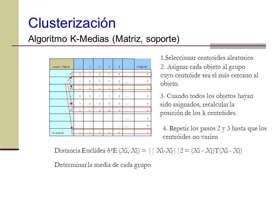 Clusterización Algoritmo K-Medias (Matriz, soporte)