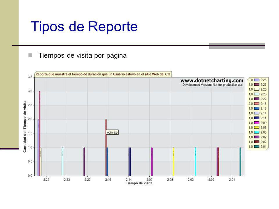 Tipos de Reporte Tiempos de visita por página