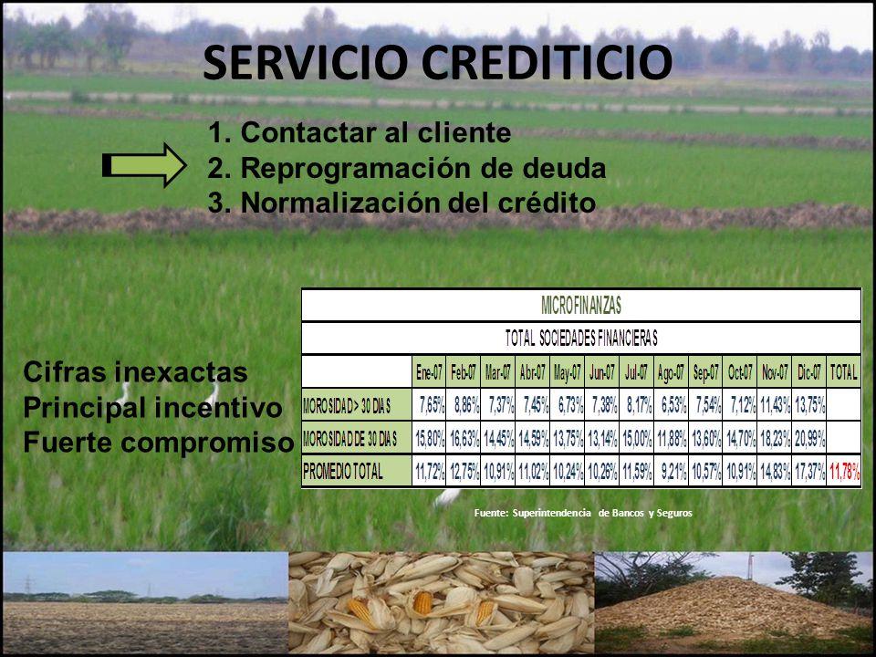 SERVICIO CREDITICIO Contactar al cliente Reprogramación de deuda