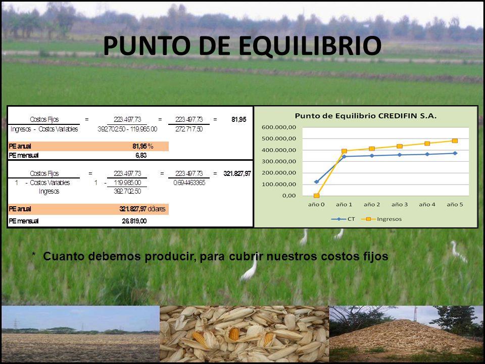 PUNTO DE EQUILIBRIO * Cuanto debemos producir, para cubrir nuestros costos fijos