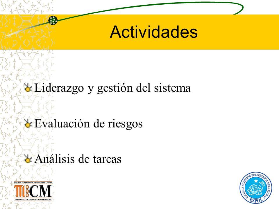 Actividades Liderazgo y gestión del sistema Evaluación de riesgos