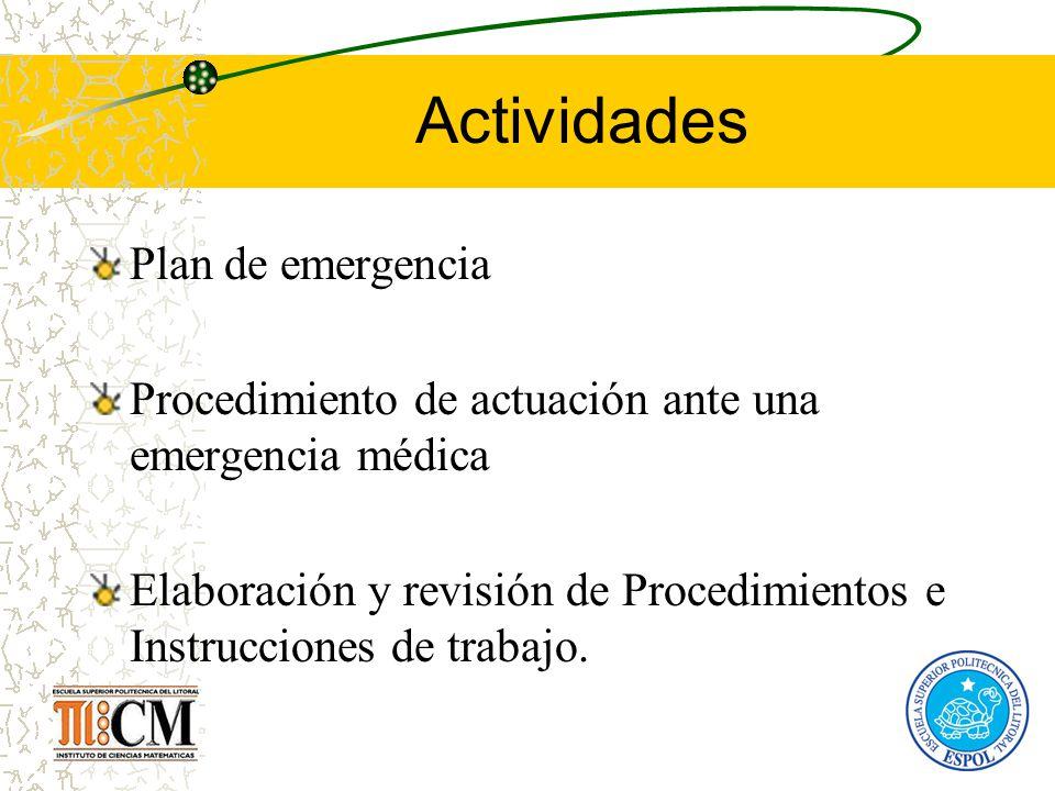 Actividades Plan de emergencia