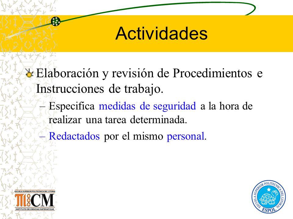 Actividades Elaboración y revisión de Procedimientos e Instrucciones de trabajo.