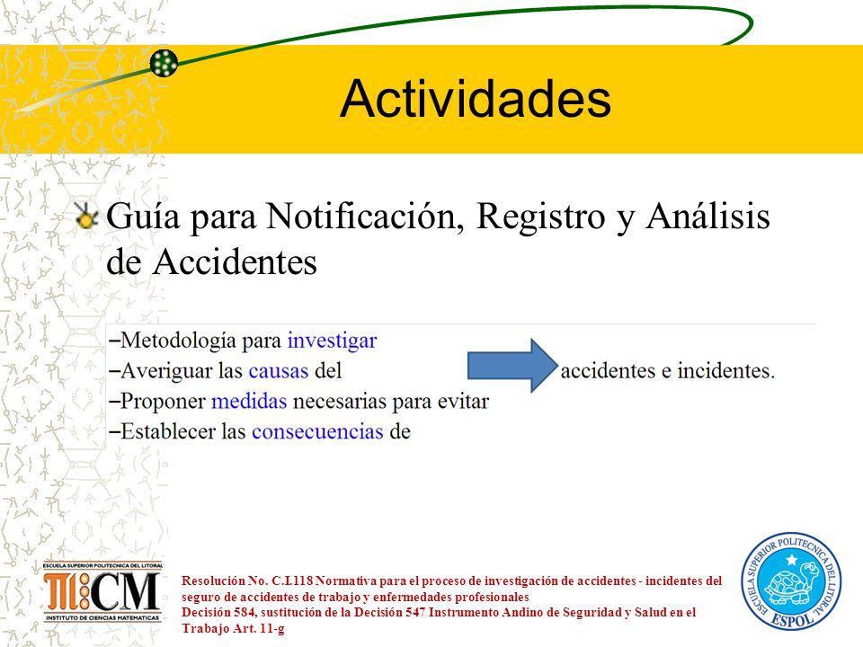 Actividades Guía para Notificación, Registro y Análisis de Accidentes