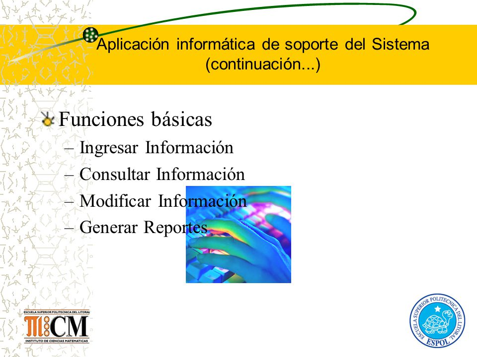 Aplicación informática de soporte del Sistema (continuación...)