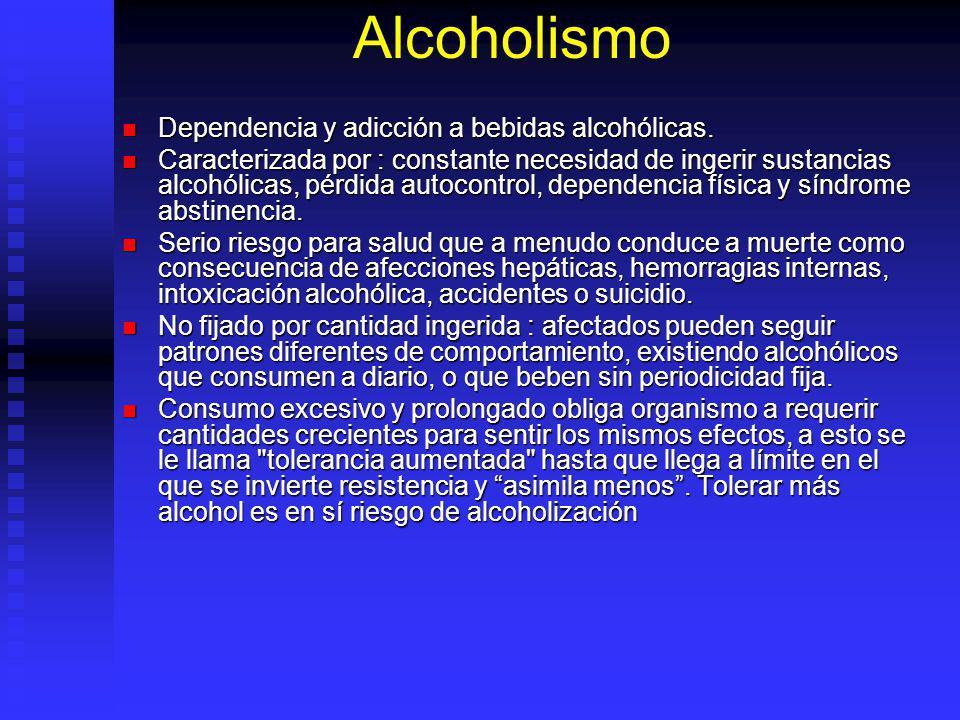 Alcoholismo Dependencia y adicción a bebidas alcohólicas.
