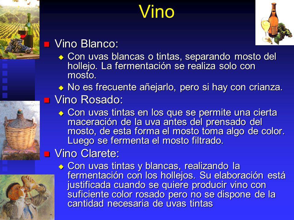 Vino Vino Blanco: Vino Rosado: Vino Clarete: