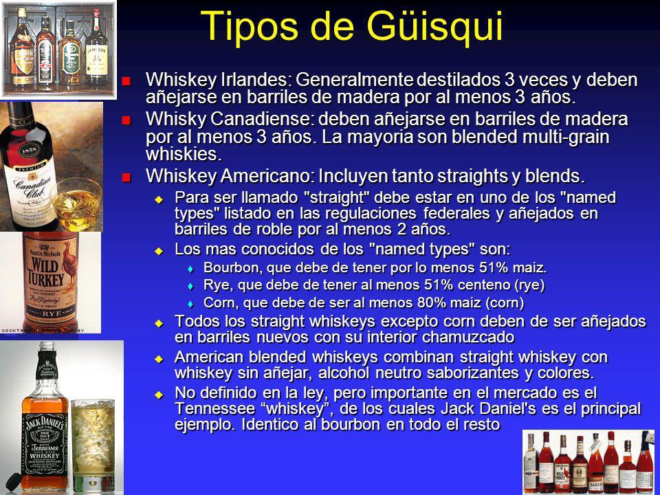 Tipos de Güisqui Whiskey Irlandes: Generalmente destilados 3 veces y deben añejarse en barriles de madera por al menos 3 años.