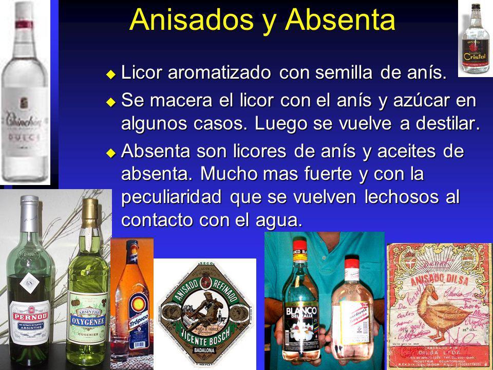 Anisados y Absenta Licor aromatizado con semilla de anís.