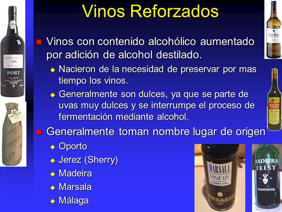 Vinos Reforzados Vinos con contenido alcohólico aumentado por adición de alcohol destilado.
